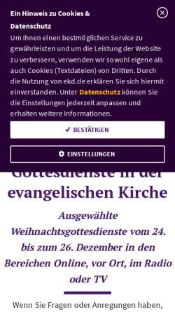 Vorschau der mobilen Webseite www.weihnachtsgottesdienste.de, Weihnachtsgottesdienste