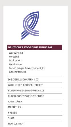 Vorschau der mobilen Webseite www.deutscher-koordinierungsrat.de, Gesellschaften für christlich-jüdische Zusammenarbeit