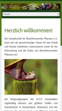 Vorschau der mobilen Webseite www.carnivoren.org, Gesellschaft für Fleischfressende Pflanzen im deutschsprachigen Raum e. V. - G.F.P.