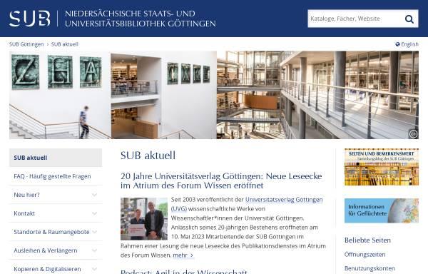 Vorschau von www.sub.uni-goettingen.de, Niedersächsische Staats- und Universitätsbibliothek Göttingen
