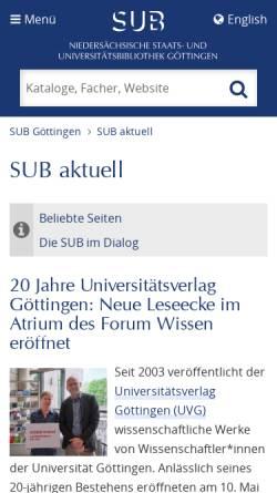 Vorschau der mobilen Webseite www.sub.uni-goettingen.de, Niedersächsische Staats- und Universitätsbibliothek Göttingen
