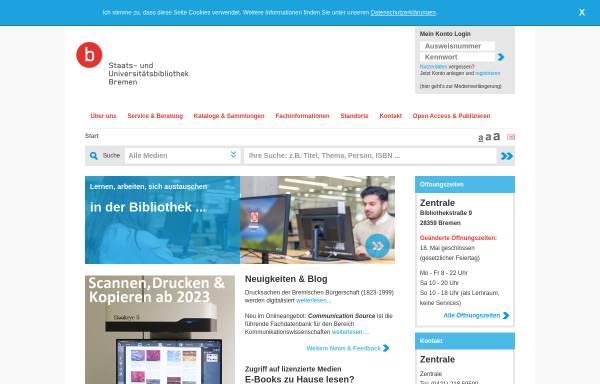 Vorschau von www.suub.uni-bremen.de, Staats- und Universitätsbibliothek Bremen