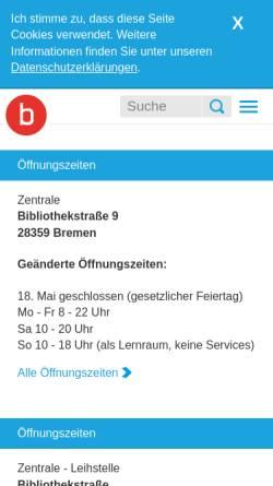 Vorschau der mobilen Webseite www.suub.uni-bremen.de, Staats- und Universitätsbibliothek Bremen