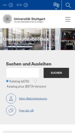 Vorschau der mobilen Webseite www.ub.uni-stuttgart.de, Universitätsbibliothek Stuttgart