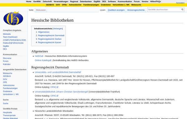 Vorschau von wiki-de.genealogy.net, Bibliotheken in Hessen