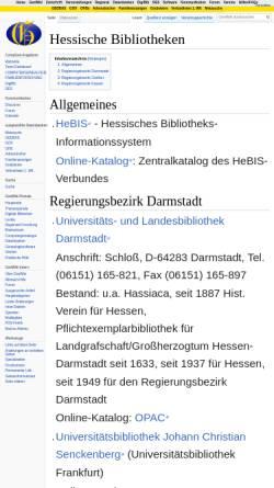Vorschau der mobilen Webseite wiki-de.genealogy.net, Bibliotheken in Hessen