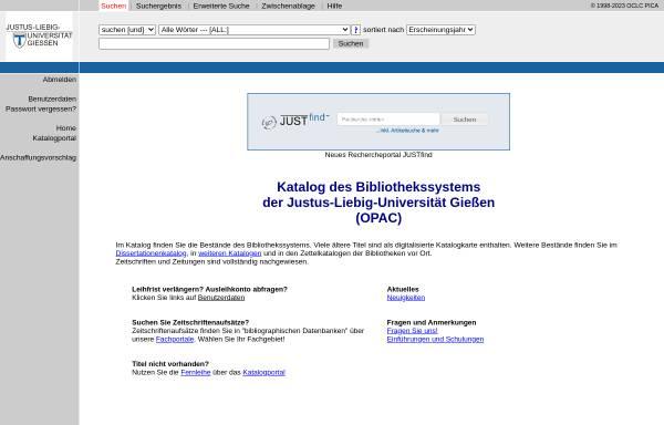 Vorschau von opac.uni-giessen.de, Lokales Bibliothekssystem Gießen/Fulda