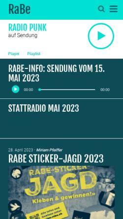 Vorschau der mobilen Webseite www.rabe.ch, Radio RaBe