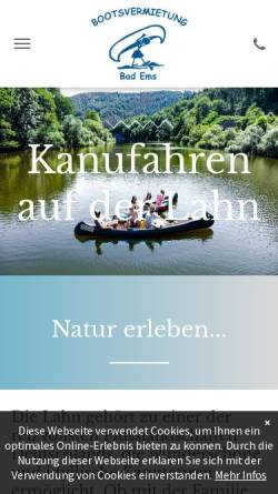 Vorschau der mobilen Webseite www.canutours.de, Bootsvermietung Bad Ems
