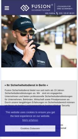Vorschau der mobilen Webseite www.fusion-security.de, Fusion Sicherheitsdienst e.K.