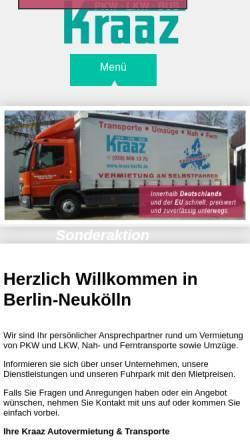 Vorschau der mobilen Webseite www.kraaz-berlin.de, Kraaz Autovermietung & Transporte