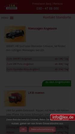 Vorschau der mobilen Webseite www.lex.de, Lex Transport- und Vermiet GmbH