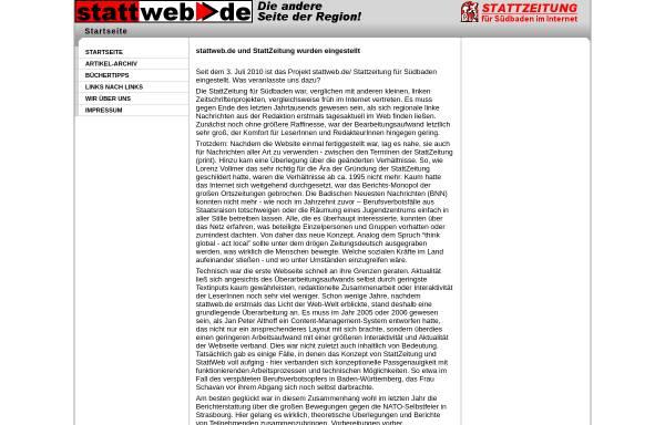 Vorschau von stattweb.de, Stattweb: Stattzeitung für Südbaden