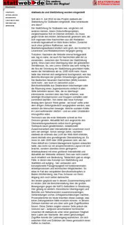 Vorschau der mobilen Webseite stattweb.de, Stattweb: Stattzeitung für Südbaden