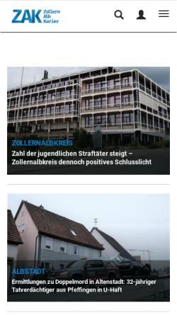 Vorschau der mobilen Webseite www.zak.de, Zollernalbkurier