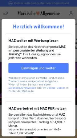 Vorschau der mobilen Webseite www.maz-online.de, Märkische Allgemeine