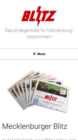 Vorschau der mobilen Webseite www.blitzverlag.de, Mecklenburger Blitz Verlag und Werbeagentur GmbH & Co. KG