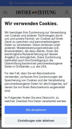 Vorschau der mobilen Webseite www.ostsee-zeitung.de, Ostsee-Zeitung