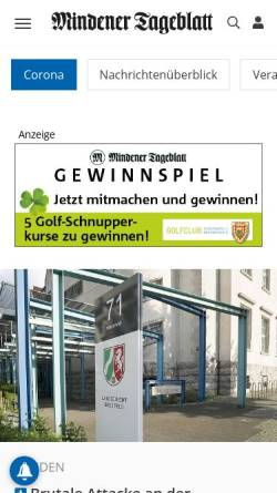 Vorschau der mobilen Webseite www.mt.de, Mindener Tageblatt