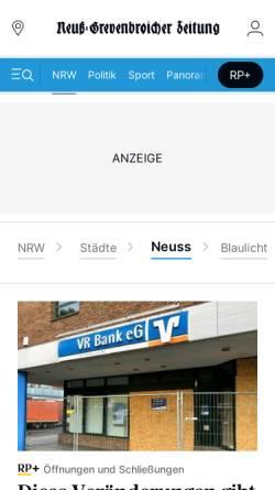 Vorschau der mobilen Webseite www.ngz-online.de, NGZ Online