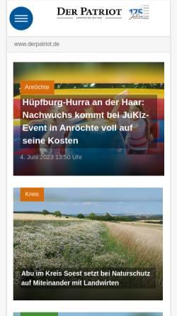 Vorschau der mobilen Webseite www.derpatriot.de, Der Patriot - Lippstädter Tageszeitung