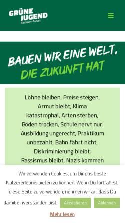 Vorschau der mobilen Webseite gruenejugend-lsa.de, Grüne Jugend Sachsen-Anhalt