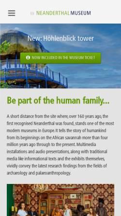 Vorschau der mobilen Webseite www.neanderthal.de, Mettmann, Neanderthal-Museum