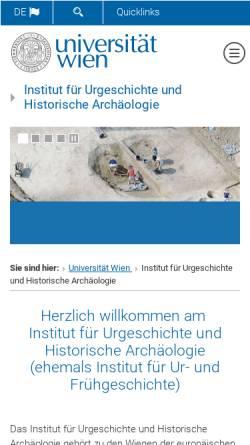 Vorschau der mobilen Webseite ufg.univie.ac.at, Institut für Ur- und Frühgeschichte der Universität Wien