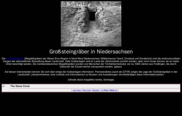 Vorschau von www.megalithgraeber.de, Großsteingräber in Niedersachsen
