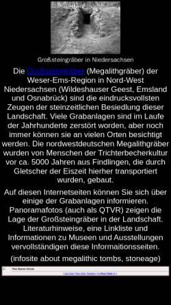 Vorschau der mobilen Webseite www.megalithgraeber.de, Großsteingräber in Niedersachsen