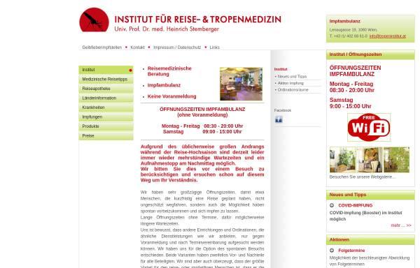 Vorschau von www.tropeninstitut.at, Institut für Reise- und Tropenmedizin