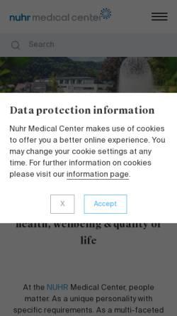Vorschau der mobilen Webseite www.prof-nuhr.at, Univ. Prof. Dr. Martin Nuhr, Facharzt für Physikalische Medizin und Rehabilitation, 1080 Wien