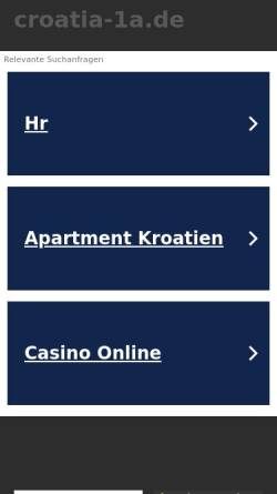 Vorschau der mobilen Webseite www.croatia-1a.de, Kroatien Appartements