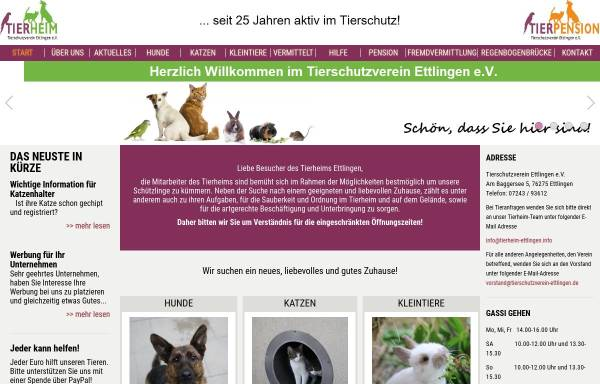 Vorschau von www.tierschutzverein-ettlingen.de, Tierschutzverein Ettlingen e.V.