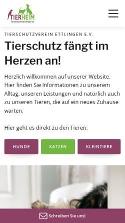 Vorschau der mobilen Webseite www.tierschutzverein-ettlingen.de, Tierschutzverein Ettlingen e.V.