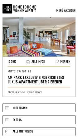 Vorschau der mobilen Webseite www.hometohome.de, Home To Home: internationale Wohnagentur