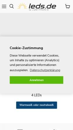 Vorschau der mobilen Webseite www.leds.de, Lumitronix LED-Technik GmbH