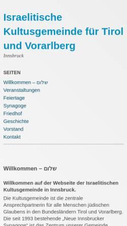Vorschau der mobilen Webseite www.ikg-innsbruck.at, Israelitische Kultusgemeinde für Tirol und Vorarlberg