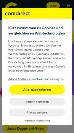 Vorschau der mobilen Webseite www.comdirect.de, Comdirect bank AG