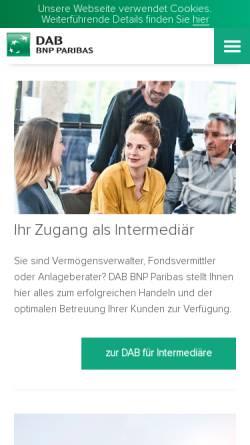 Vorschau der mobilen Webseite www.dab-bank.de, DAB bank AG