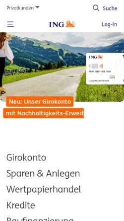 Vorschau der mobilen Webseite www.ing-diba.de, ING-DiBa AG