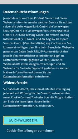Vorschau der mobilen Webseite www.vwfs.de, Volkswagen Bank direct