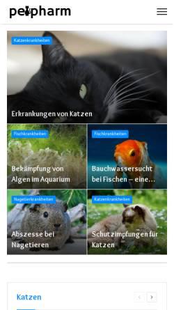 Vorschau der mobilen Webseite www.petpharm.de, Haustier Krankheiten - Ursachen Diagnose Behandlung