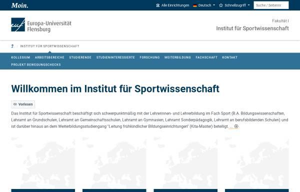 Vorschau von www.uni-flensburg.de, Institut für Bewegungswissenschaften und Sport der Universität Flensburg