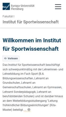 Vorschau der mobilen Webseite www.uni-flensburg.de, Institut für Bewegungswissenschaften und Sport der Universität Flensburg