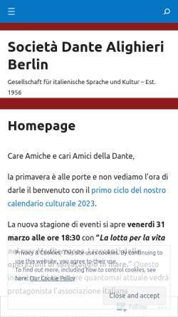 Vorschau der mobilen Webseite danteberlin.com, Società Dante Alighieri, Comitato di Berlino e.V.