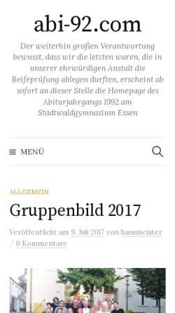 Vorschau der mobilen Webseite www.abi-92.com, Essen - Stadtwaldgymnasium