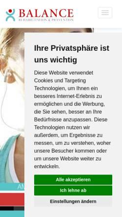 Vorschau der mobilen Webseite www.balance-aschaffenburg.de, Balance Rehabilitation und Krankengymnastik, Andreas Orth und Gerd Sauerwein GbR