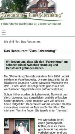 Vorschau der mobilen Webseite www.zum-fahrenkrug.de, Der Fahrenkrug