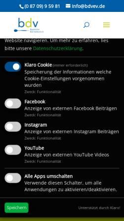 Vorschau der mobilen Webseite bdvev.de, Bayerischer Dart Verband e.V.